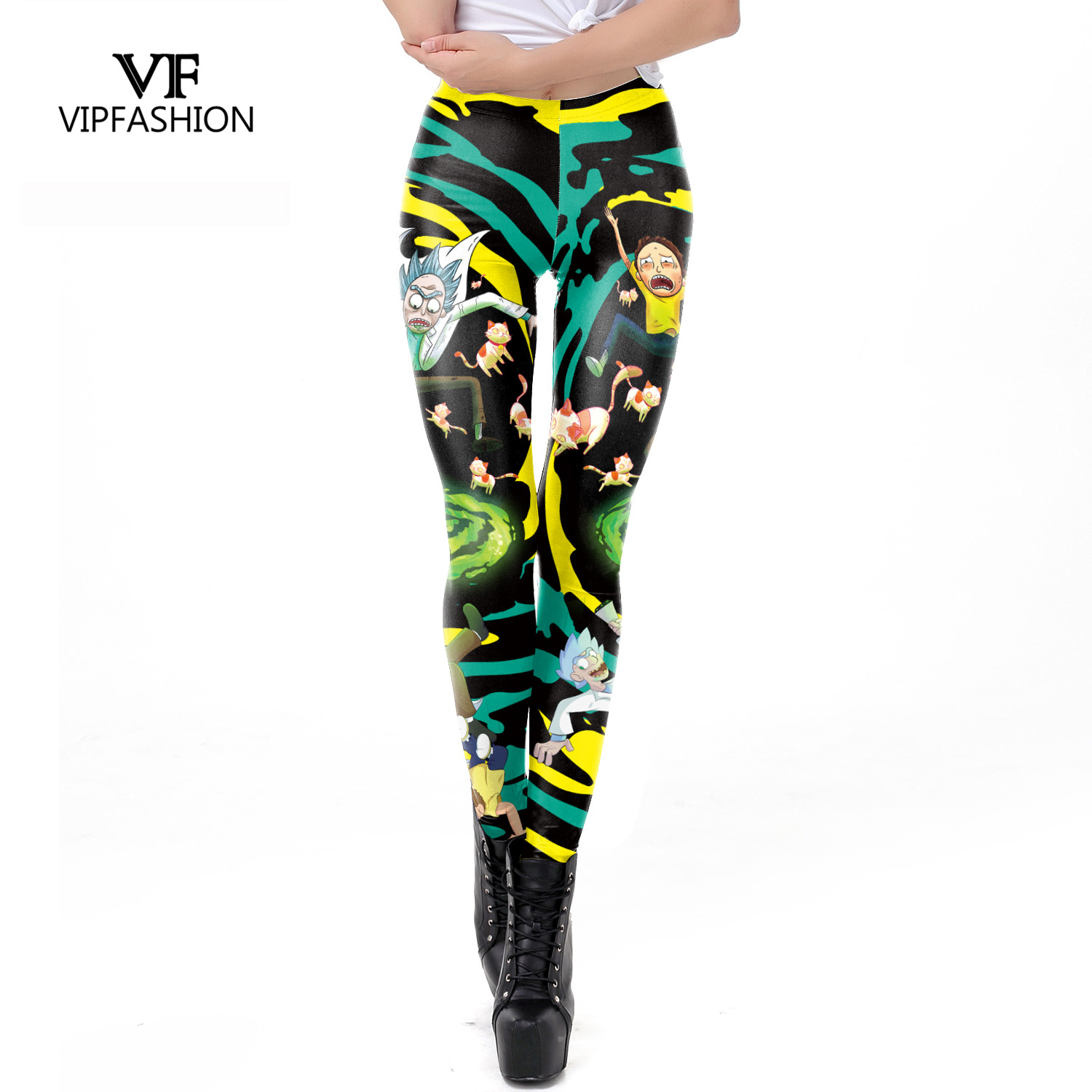 VIP FASHION Rick And Morty Lady Leggings Women Plus Size Workout Cartoon Printed Comfortable Thin Fitness Leggings