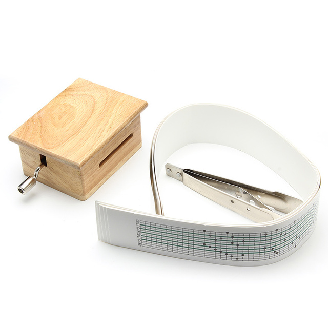 15 Tone DIY Hand-cranked Music Box Wooden Box With Hole Puncher And 10 pcs Paper Tapes Music Movements Box paper strip 5