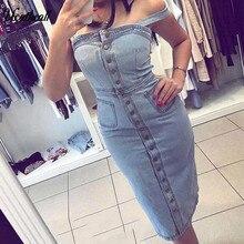 цены 2019 Summer Women Denim Bib Pocket Dress Female Vintage Slim Midi Dresses Casual Solid Color Sexy Bodycon Jeans Button Dress