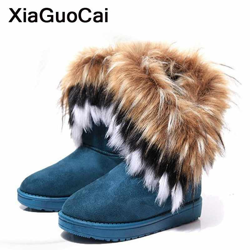 Snow Boots Woman Winter Warm Female Mid-calf Boots With Fur Plush Ladies Shoes Furry British Soft Flock Short Botas Slip-On 2019