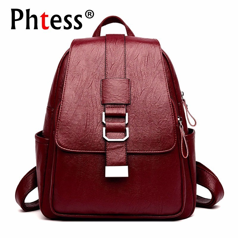 Women Leather Backpacks High Quality Sac A Dos School Bags For Girls Travel Ladies Bagpack Solid Large Capacity Rucksacks Female