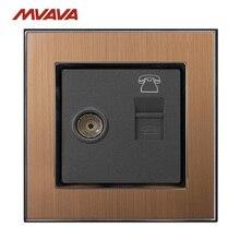 Mvava телевизионная+ тел настенная розетка телевидение и RJ11 телефонный штекер порт Джек настенная розетка роскошный атласный металлический Выход