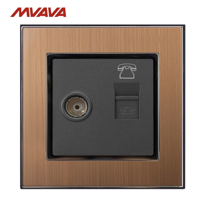 MVAVA TV TEL Wall Receptacle Television and RJ11 Telephone Plug Port Jack Wall Socket Luxury Satin Metal Outlet Free Shipping in Electrical Sockets from Home Improvement
