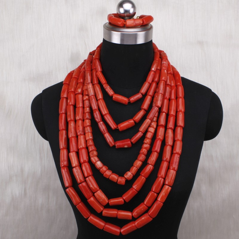 4ujewelry Statement 100% Nature Coral Beads Jewelry Set For Women 7 Layers Luxury African Bridal Jewelry Set Free Shipping 20194ujewelry Statement 100% Nature Coral Beads Jewelry Set For Women 7 Layers Luxury African Bridal Jewelry Set Free Shipping 2019