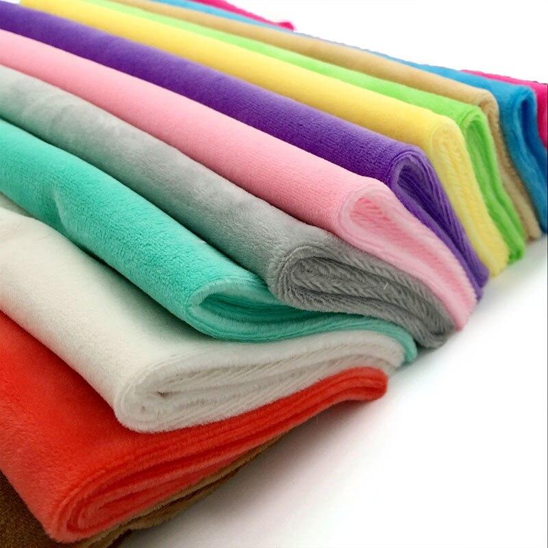 Zyfmptex 1 pçs minky tecidos para costura diy artesanal casa têxtil pano para brinquedos de pelúcia tecido retalhos cor sólida estilo 45*50cm