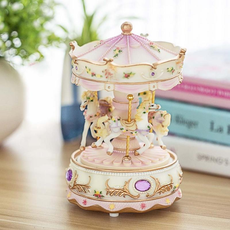 Carousel Shape With Light Music Electronic Toys For Kids Children Girls Christmas Birthday
