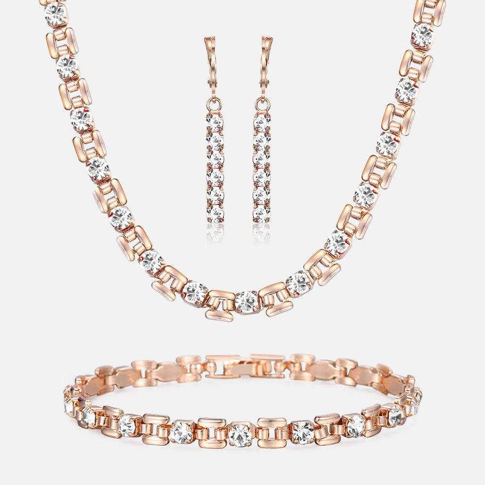 Necklace-Set Earrings Bracelet Cubic-Zircon Wedding-Gift Rose-Gold Black Women's Luxury
