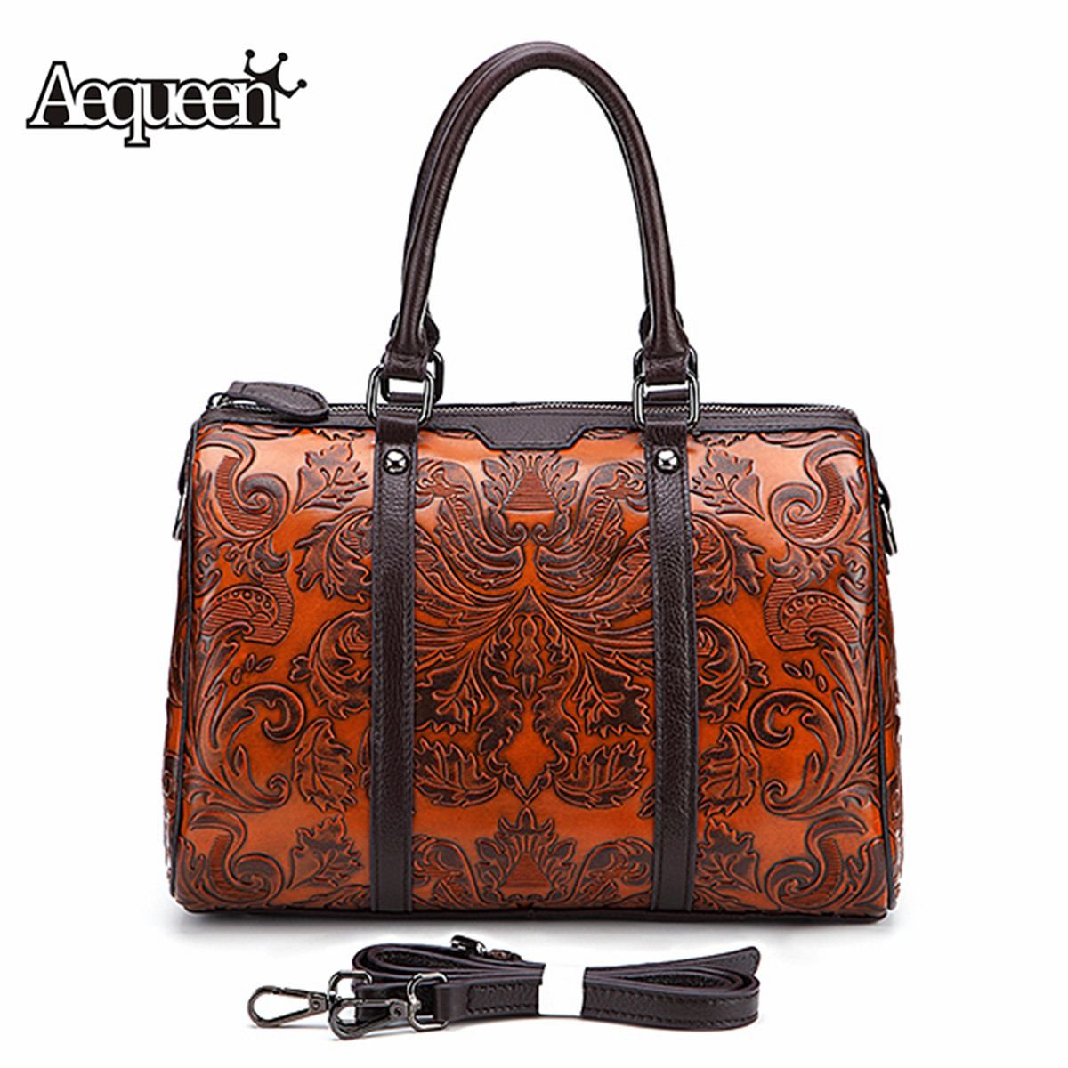 AEQUEEN Luxury Hand Bag Designer Genuine Leather Women Handbag Female Vintage Embossed Craft Shoulder Crossbody Bag
