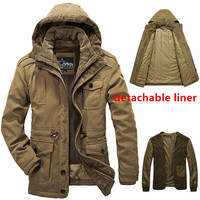 4XL Plus Winter Outdoor Hiking Cycling Hunting Climbing Thicken Thermal Windproof Jacket Velvet Warm Men's Cotton Clothes Coat