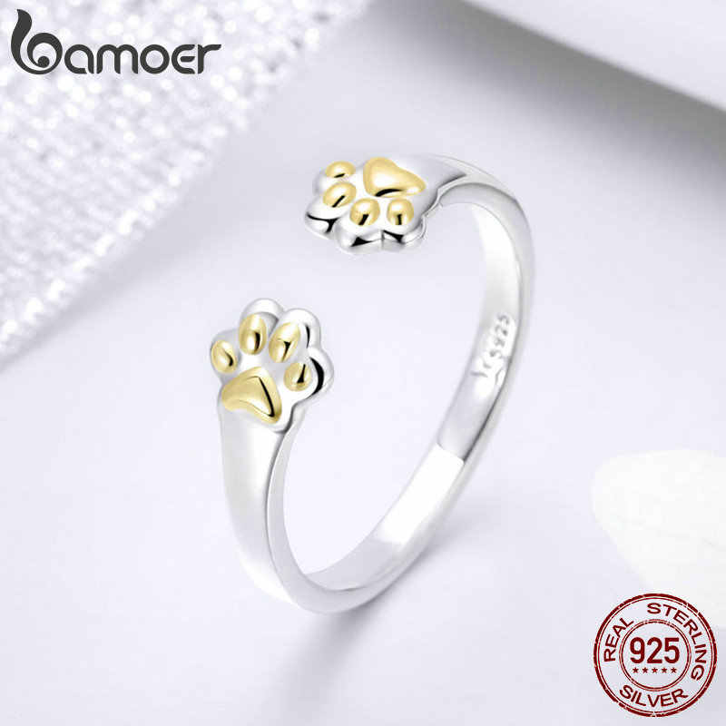BAMOER Authentic 925 Sterling Silver Animal Pegadas Abra o Tamanho Ajustável Anéis de Dedo para As Mulheres Do Partido da Jóia Do Casamento SCR430