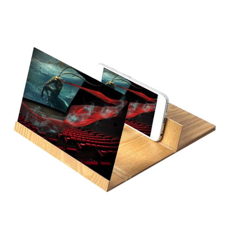 Estereoscópico de amplificación de 12 pulgadas de escritorio de madera de soporte del teléfono móvil de la pantalla de vídeo lupa amplificador soporte NANO cine