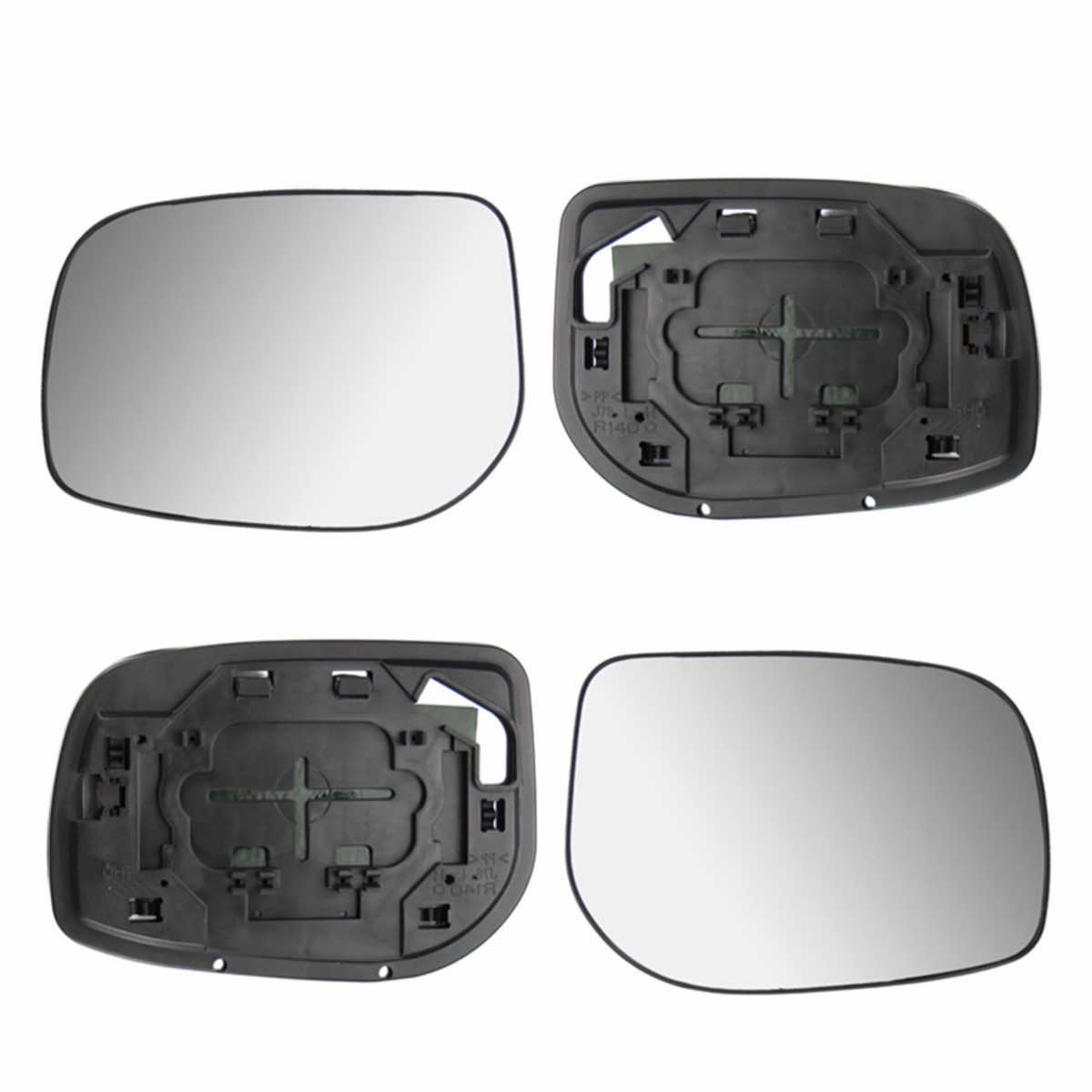 2x Car Rear View Side Wing Mirror Glass Silver Nonheated & Base Fit For Toyota Yaris 2006-2009 Door RearView Mirror