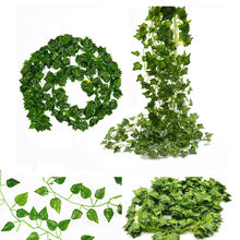 12pcs/lot Artificial Silk Plastic Simulation Climbing Vines Green Leaf Ivy Rattan for Home Decor Bar Restaurant Decoration(China)