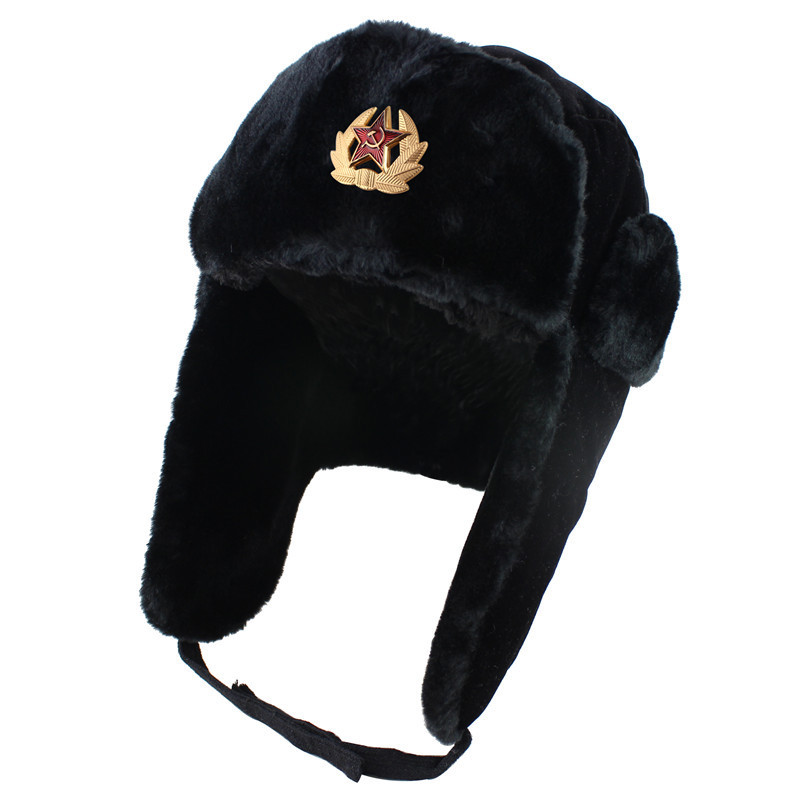 Hat Soviet Ushanka Army-Hat Winter Women Soldier Warm Polyester One-Pieces Geometry Casual