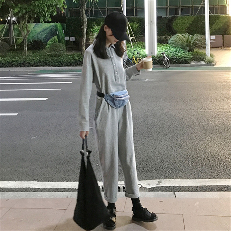 Creative Casual Womens Clothing Autumn New Ulzzang Korea Fashion Harajuku Harem Turn-down Collar Loose Gray High Waist Cargo Jumpsuits Jumpsuits