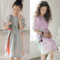 Teenager Dress Girl Summer Gray Orange Purple Green Patchwork Party Girl Dress Sashes 2019 New Mother And Daughter Clothes