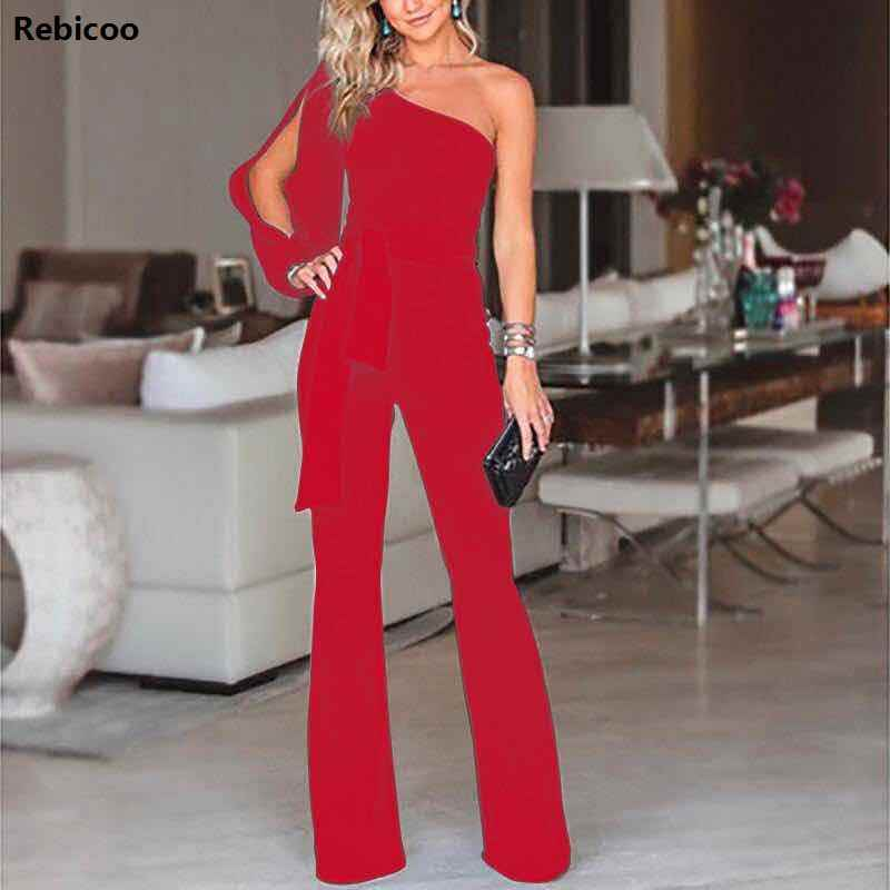 92fec421794b ... Women Sexy Off Shoulder Slash Neck Long Sleeve Women Jumpsuit Elegant  Slim Wide Pants high waist ...