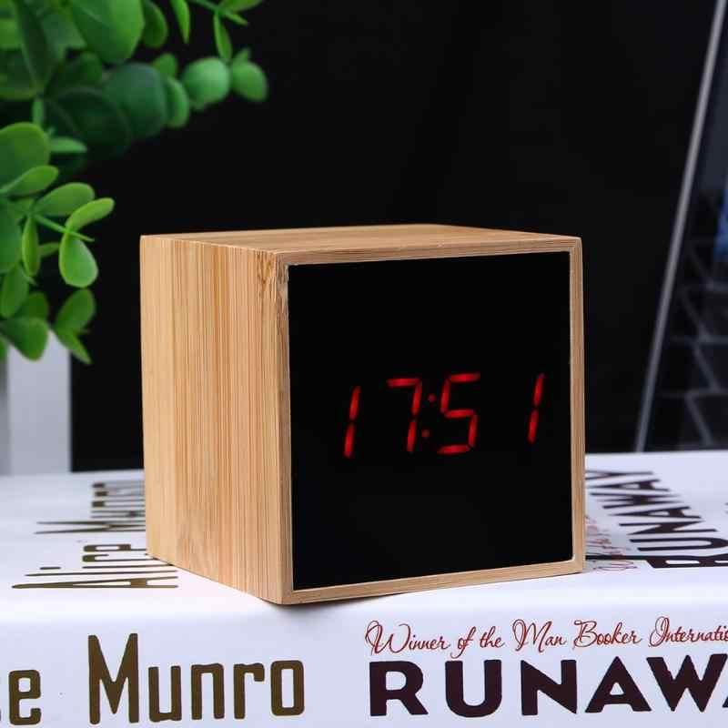 USB деревянный светодиодный Будильник с термометром таймером
