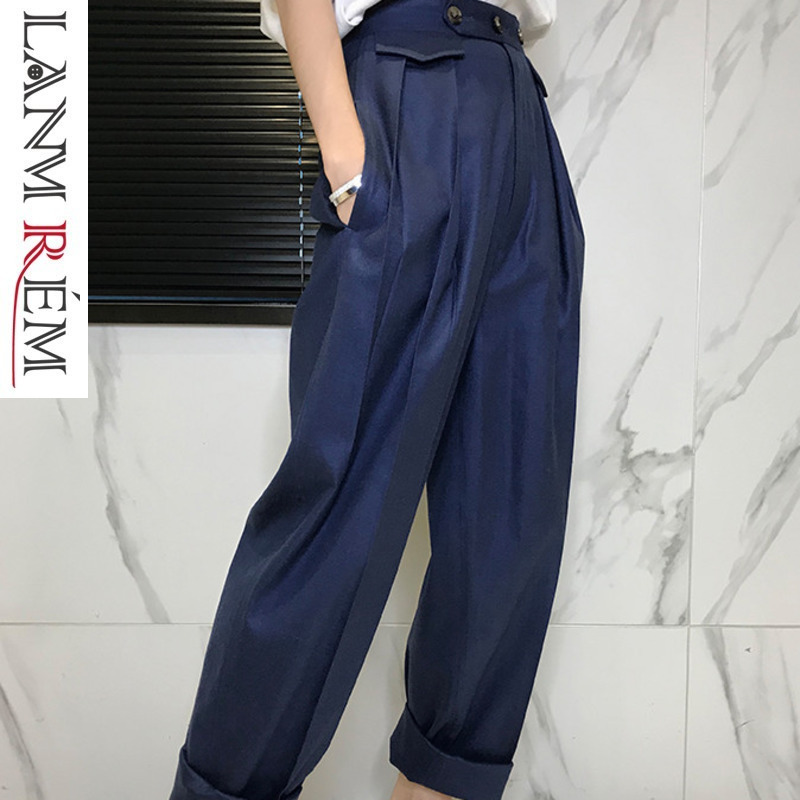 LANMREM 2019 nouveau mode lâche bouton solide plat large jambe pantalon décontracté femmes printemps offre spéciale à la mode de haute qualité bas BD146