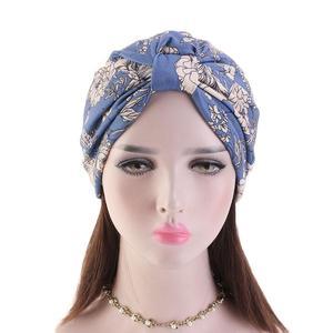 Image 2 - נשים פרחוני הדפסת כובע מוסלמי חיג אב הכימותרפיה סרטן כובע אסלאמי שיער אובדן כובע ראש צעיף טורבן סאטן אניה פנימי כובע ערבי אופנה