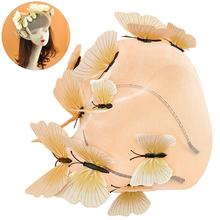 Three-Dimensional Butterfly Mesh Yarn Hair Accessories Headband Mask Catwalk Styling Tiara Wedding Magazine Photo
