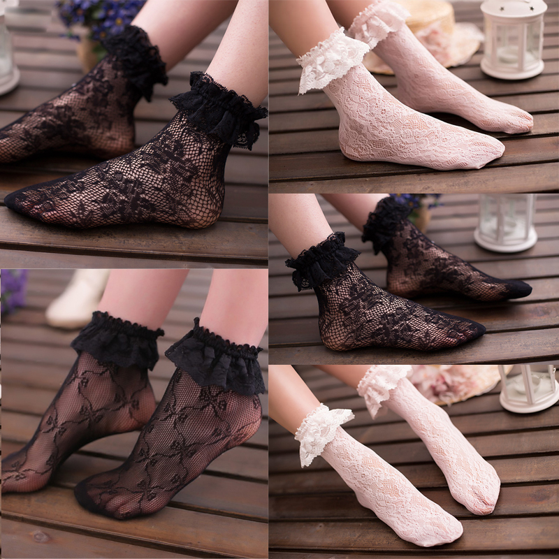 Sexy Lace Floral   Socks   Women Summer Hot   Socks   Lace Ruffle Soft Pleats Elastic Fishnet Short Ankle   Socks   Black White