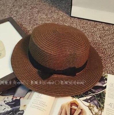 Fashion Hawaiian straw hat sun hat Cute Women sun hats bow hand made women straw cap beach big brim hat casual girls summer cap