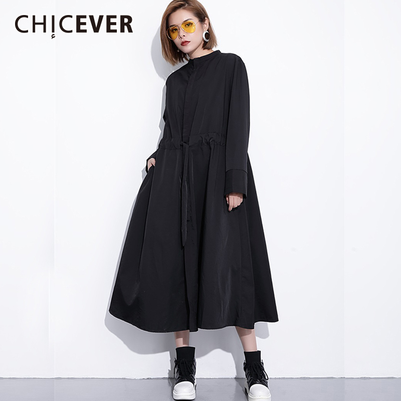 CHICEVER Autumn   Trench   Coat For Women Windbreaker Casual Loose Long Sleeve Single Breasted Drawstring Long Women's Windbreakers