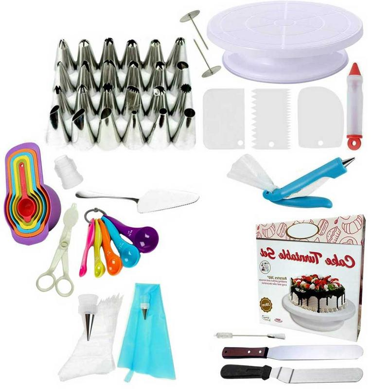 60pc Ultimate Set Rotating Cake Decoration Turntable Pipe Bag Cake Mold Smoother Icing Pastry Tools Decorative Tools