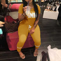 Women Pink Letter Print Sexy Tracksuit Plus Size Casual 2 Piece Set S-XXXL Summer Tops+Skinny Pants Two Piece Outfit