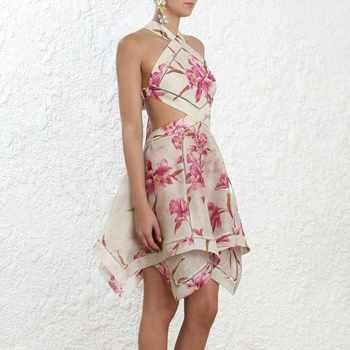 TWOTWINSTYLE Print Dress Female Off Shoulder Halter Backless Bandage Hollow Out Asymmetrical Dresses Women 2019 Sexy Fashion