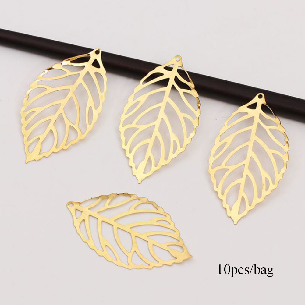 20pcs Gold /& Silver Retro Hollow Leaves Charms Pendants Jewelry Making 50 x 25mm