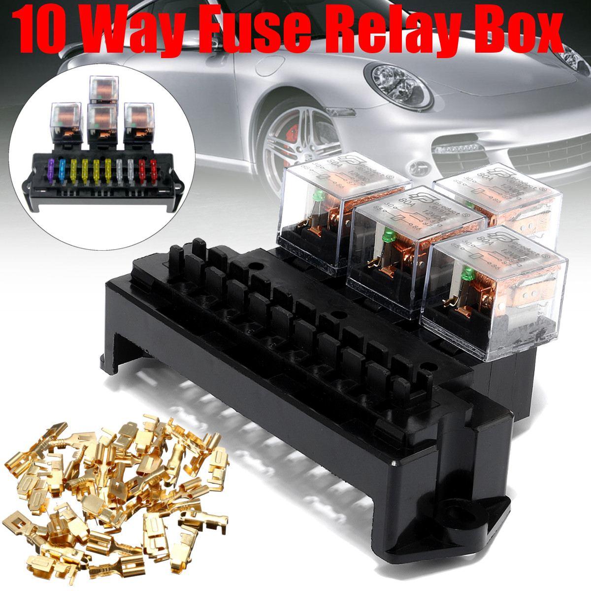 10 way fuse safety box 4 relay box holder block automotive black circuit protector terminals car [ 1200 x 1200 Pixel ]