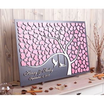 Personalized 3D Wedding  Guest Book Ideas, Unique Guestbooks, Wedding Guest Book Alternative Tree Hearts Guestbooks Love Birds
