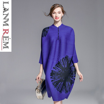 Button Decoration Print Female's Half Sleeve Batwing Type Pleated Dress