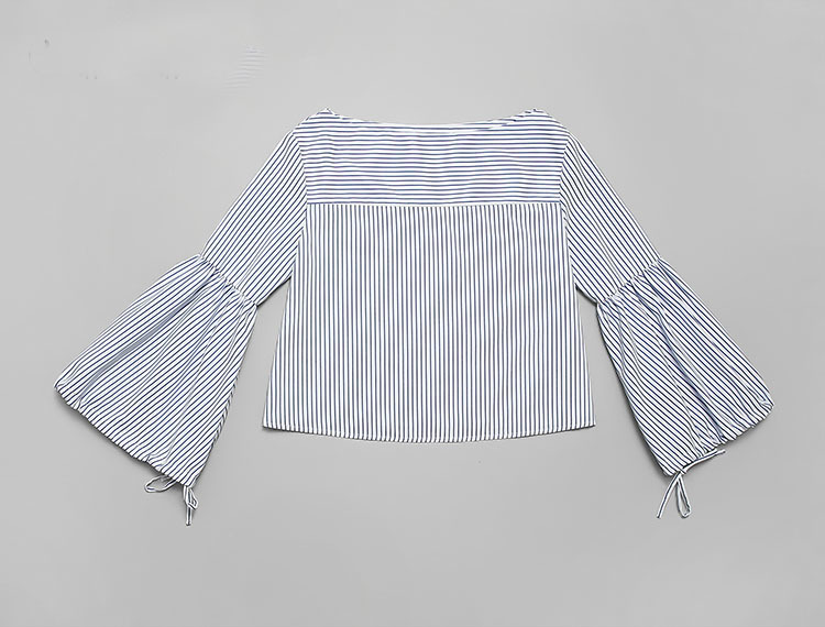 Deux Mini Pièces Femmes Printemps Haute Robe Élégante Cou Sky Flare Taille Manches K605 Blue Blouses Slash Moulante 2019 Rayé Femme Ensembles a7dwT7q