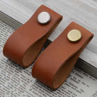 1pc Faux Leather Furniture Single Hole Pull Handles For Doors Cabinets Cupboards closet Drawer Pulls Knob Handle 8.1*2.7cm