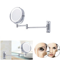 Adjustable Round Type LED Light Double Sided Wall Mount Mirror 5x Magnifying Bathroom Folding Brass Mirror for Makeup Bath Shave