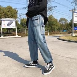 2019 Весна Винтаж карман широкие синие ковбойские свободные штаны-карго Досуг Рабочая одежда американские мешковатые Homme джинсы мужские S-2XL