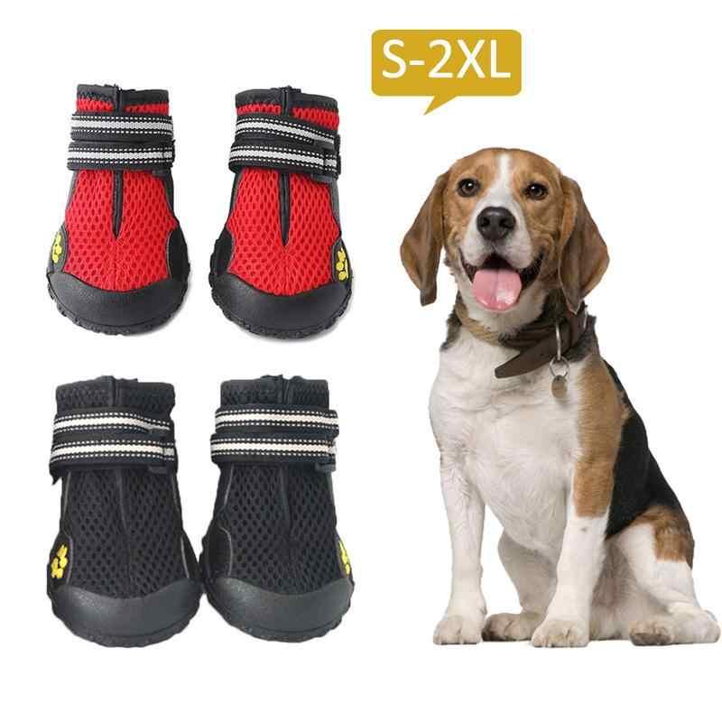 4 шт. Водонепроницаемая Обувь для собак, Уличная обувь для бега, непромокаемые сапоги для домашних животных с твердой нескользящей подошвой для Лабрадор Хаски средних и больших собак