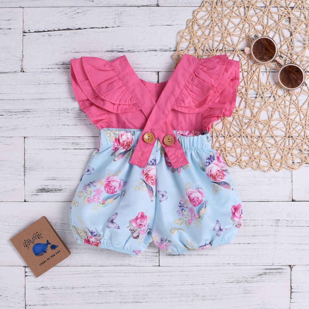 f5011fd85c3d ... Pudcoco 2019 Summer Infant Toddler Baby Girls Floral Romper Patchwork  Jumpsuit Sunsuit Set Cute Clothes ...