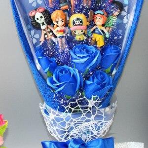 Image 5 - 13 style Anime One Piece figurka z bukietem kwiatów zabawki Luffy Nami Roronoa Zoro Model kwiaty ślub walentynki prezent