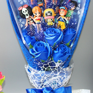 Image 5 - Figuras de acción de One Piece, 13 estilos, con ramo de flores, juguetes, Luffy Nami Roronoa Zoro, modelo de flores, boda, regalo de San Valentín
