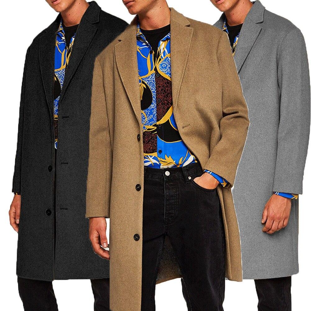 2019 New Fashion Men s Wool Coat Winter Trench Coat Outwear Overcoat Long Sleeve Jacket Trench 2019 New Fashion Men's Wool Coat Winter Trench Coat Outwear Overcoat Long Sleeve Jacket Trench M-3XL