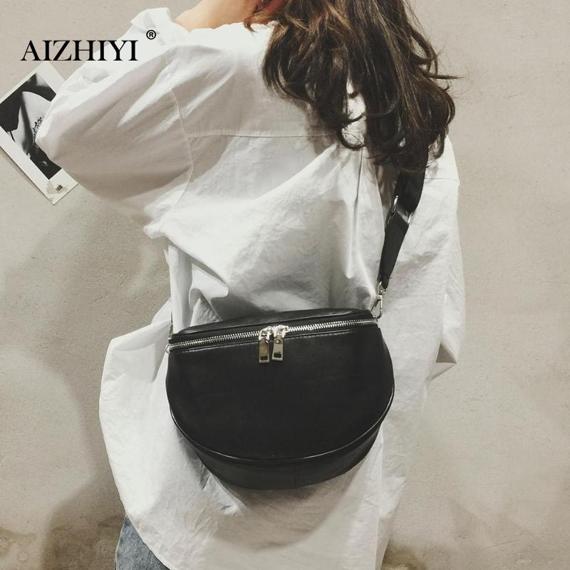 Unisex Fashion Black Chest Bag Women PU Leather Waist Pack Casual Adjustable Belt Shoulder Zipper Crossbody Bag For Girls Female