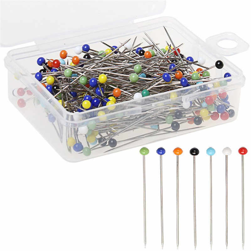 Fashion 100pcs/lot Sewing Needles 32mm glass head bead sewing machine needles holder glass head pins knitting needles set US024