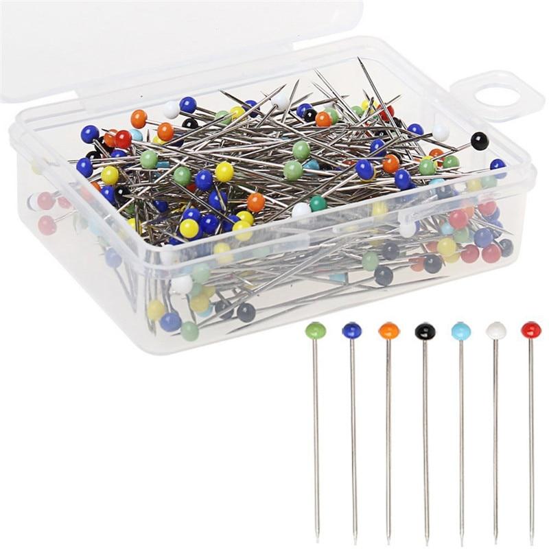 Fashion 100pcs/lot Sewing Needles 32mm Glass Head Bead Sewing Machine Needles Holder Glass Head Pins Knitting Needles Set US024