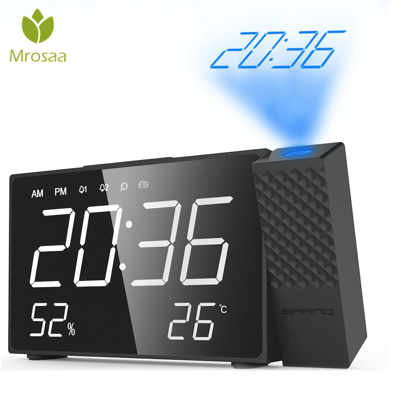 New LED Digital Projection Alarm Clock FM Radio Dual Alarm Volume Snooze Time Humidity Temperature DisPlay Desktop Table Clocks