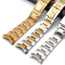 Paslanmaz çelik kayış erkek saati accessories17mm20mm Rolex Daytona serisi ark ağız su geçirmez çelik kayış kadınlar saat kayışı