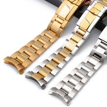 Stainless steel strap mens watch accessories17mm20mm for Rolex Daytona series arc mouth waterproof steel strap women watch band